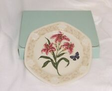 PartyLite Stargazer Lily Candle Plate Botanical Collection Dishwasher Safe