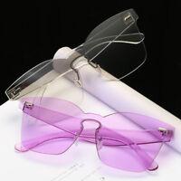 Retro No Frame Sunglasses Cat Eye Transparent Glasses Candy Color Unisex
