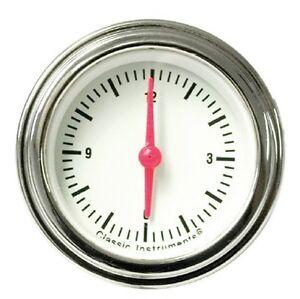 Clock 1955 1956 Chevy Classic Signature Series, White Face w Black Danchuk 2-1/8