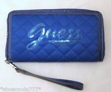 GUESS POPULAR Wristlet Wallet Clutch Organizer Purse Quilted Sequins New Blue
