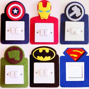 Super cool Marvel Iron Man, Captain America, Batman...Light Switch Wall Sticker