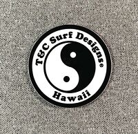 """T&C Town & Country Surf Designs Hawaii Sticker 2"""" SMALL Authentic T&C White"""