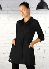 Fashion Women's Long Sleeve Stretch Cotton Casual OL Shirt Mini Dress M Black