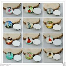 15 pcs Round 25mm Glass Cabochons Many Patterns Embellishments DIY Jewelry Craft