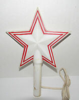 Vintage Gem Star Tree Top Light Christmas Topper Red White Plastic
