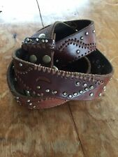 BED STU puzzle patches patchwork belt brown cognac leather studded 36 38 40 L