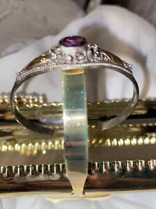 BEAUTIFUL STERLING SILVER AND AMETHYST CUFF BRACELET WITH FREE SHIPPING
