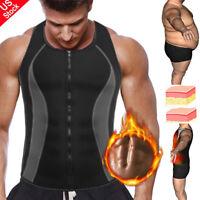 Men Waist Trainer Sauna Vest for Weight Loss Zipper Hot Neoprene Compression Top