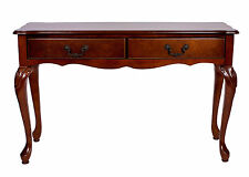 Mahogany Hall Table Console 2 Drawer Entry Writing  Brown Antique Style Repro