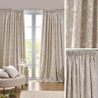 Beige Lined Curtains Floral Embroidery Linen Tape Top Pencil Pleat Curtain Pairs