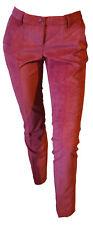 Pantalone Elegante Chino Donna Velluto Millerighe Leggero Rosso Scuro Tag 42 W28