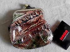 HOBO Coin Purse Kiss-Lock Wallet Leather Ruffle Trim Sparkle Snake Pattern