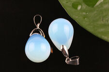 2Pcs Opal Crystal Gem Teardrop Gemstone Pendant Necklace Earring Dangle Craft