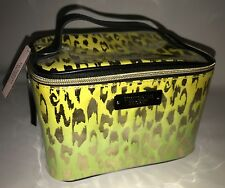 Victoria's Secret Yellow Green Neon Makeup Bag Tote Travel Purse Cheetah Leopard