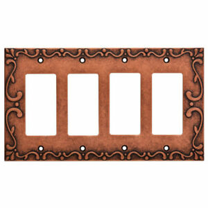 Quad Decorator Wall Plate Copper Classic Lace Franklin Brass W35081