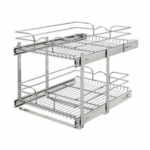 """Rev-A-Shelf 5WB2-1822CR-1 18"""" x 22"""" 2-Tier Cabinet Pull Out Wire Baskets, Chrome"""