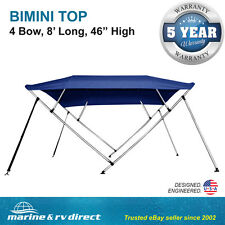 "New  Bimini Top Boat Cover 4 Bow 46"" H 67"" - 72"" W 8 Foot Long Navy Blue"