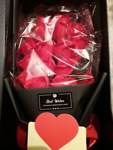18 Red Roses Soap Bouquet displayed in a beautiful box with gift card