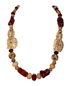 Cat Bovine Bone Crystal Glass and Red Coral Bead Necklace Earring Set