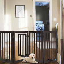 "31.5""H Wood Dog Gate Pet Fence Baby Playpen 4 Panel Folding Free Standing Indoor"