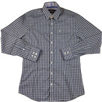Calibre Men's Tailored Button Up Long Sleeve Business Shirt Size M Blue Check