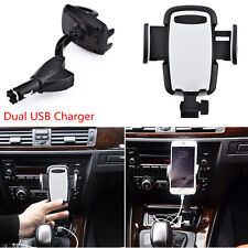 Universal Dual USB Car Charger Cell Phone Holder Mount Cigarette Lighter Charger