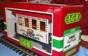 LGB G SCALE, CIRCUS COACH, OLD STOCK LGB 3036 + LED LIGHTING + LGB STEEL WHEELS
