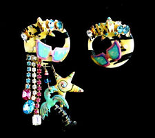 Vintage 80's Large Lunch at the Ritz Rhinestones and Enamel HOLLYWOOD Earrings