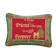 Collections Etc Friendship Christmas Pillow - Gift Forever 12 x 12 in