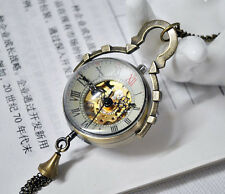 Antique ball mechanical bronze transparent glass punk pocket watch necklace.