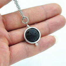 14mm Lava Rock Stone Gemstone Bead Alloy Ring Charm Pendant Necklace For Gift