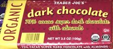 TRADER JOE'S  73% Cacao super DARK CHOCOLATE with almonds ORGANIC 9 PACKS