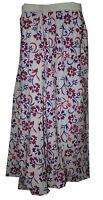Indian 100% Cotton Women White Color Long Skirt Hippie Plus Size Floral Print