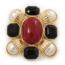 Square Simulated Pearl, Black Glass, Red Stone Brooch In Gold Plating - 5cm Leng