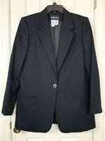 Women's Sag Harbor Wool Blazer 14 Black One Button Woolmark Lined Notched Collar