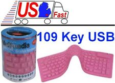 109 key Spill-proof Fold/Foldable/Folding+Flexible portable Keyboard USB {PINK