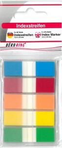 Plastik Indexstreifen 5x25 Streifen farbig 12x45mm PET Haftstreifen Notes NEU