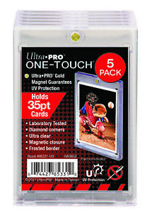 (5) ULTRA PRO UV CLEAR ONE-TOUCH MAGNETIC 35 PT CARD HOLDERS (LOT OF 5)