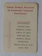 CALENDARIO GREMIO SINDICAL PROVINCIAL INDUSTRIALES TOCINEROS DETALLIS. AÑO 1968.