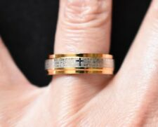 The Lord's Prayer Word Ring Band Silver Gold Tone Religious Costume Jewelry SZ 8