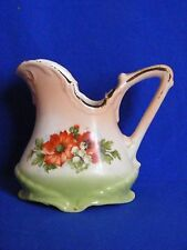 """Vintage Czech Cream Pitcher Red White Flowers Green Flowers 4"""" Tall"""
