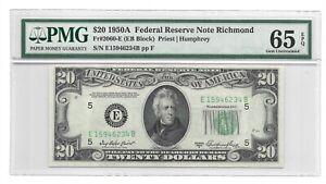 1950A $20 RICHMOND FRN, PMG GEM UNCIRCULATED 65 EPQ BANKNOTE