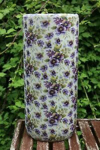 Large Floral Umbrella Stand / Walking Stick Stand Purple Flower Vase