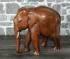 Asiatischer Elefant Hartholz Stoßzähne Rüssel Holz Höhe 26cm 2,42 kg Mid Century