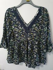 F&F Blue Floral 3/4 Sleeve Top Size 14