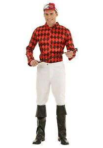 OP 224y Mens Costume Fancy Dress Horse Riding Jockey Cup Yellow Red Size S XL