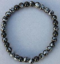 """Bracelet Obsidienne neige 6 mm """"Large"""""""