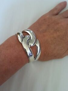 Vintage Chunky Mexico Sterling Silver Bracelet 38g 925