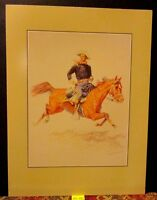 Vintage REMINGTON Print ~A CAVALRY OFFICE~ on Horse Rockwell Museum Print 1988