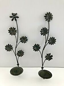 """Black Metal Wrought Iron Wall Sconces Candle Holders with leaves 18"""" Tall"""